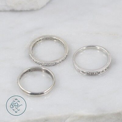 Sterling Silver | (QTY 3) Assorted Crystal Band Stack Rings 5.8g | Lot MS5493