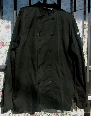 Chef Coat Black Size Medium Chef Works Long Sleeve 10 Button Style Cotton Blend
