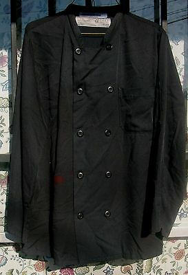 Chef Coat Black Size Small Chef Design Long Sleeve 10 Button Style Polyester