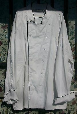 Chef Coat White With Black Piping Size Large Chef Works 12 Covered Buttons $6