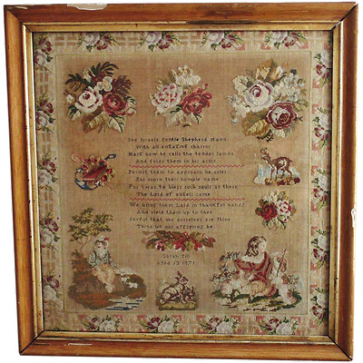 LARGE 1871 Victorian Sampler Religious Roses Antique MUSEUM QUALITY Needlework