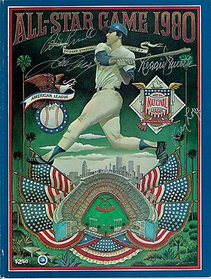 Reggie Smith Bill Russell Davey Lopes Steve Garvey Signed 1980 All Star Program