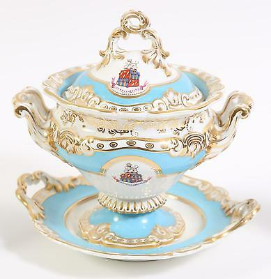 c1820 CHAMBERLAINS WORCESTER Blue SOUP TUREEN BOWL w STAND