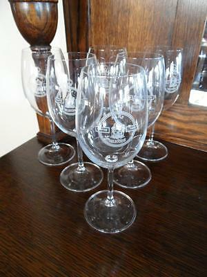 6 X Vintage Crystal Aahs Melbourne Australian Horological Society Wine Glasses