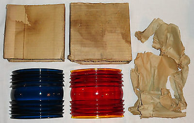 2 NOS 112º Red & Corning Blue Marine Ship Running Light Lantern Fresnel Lenses