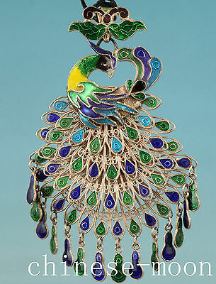 Chinese fine silver Cloisonne Flexible Peacock Statue Pendant Statue