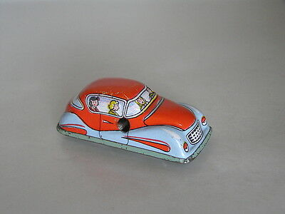 Vintage Tin Car Orange & Light Blue Painted Tin Wind Up Clockwork Hungarian Toy