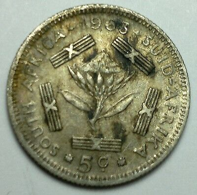 1963 South Africa 5 cents silver coin