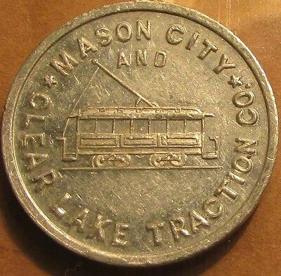 Very Old Mason City, IA and Clear Lake Traction Co. Transit Trolley Token - Iowa