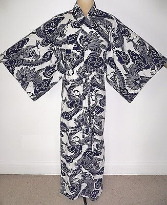 FAB VINTAGE JAPANESE SILK or BLEND HAORI KIMONO JACKET - OCEAN WAVES TSUNAMI