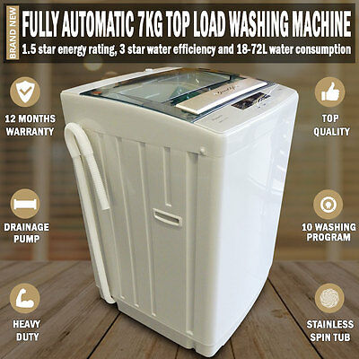 NEW Fully Automatic 7kg Top Load Washing Machine White 1 Year Warranty Included