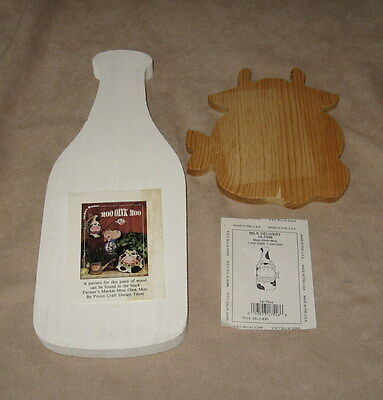 Wooden Milk Bottle & Cow Wall Plaque-Unfinished-Made In the U.S.A.-Super Cute