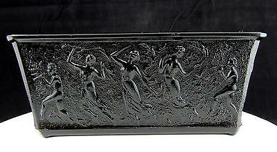 "Le Smith #405 Black Amethyst Dancing Nymphs Rectangle 7 5/8"" Planter Jardiniere"