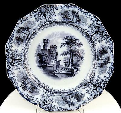"""EDWARD WALLEY ANTIQUE MULBERRY BLACK TRANSFER WARE FOLIAGE 9"""" PLATE 1850's"""