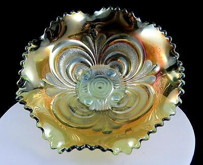 """Imperial Iridescent Green Helios Carnival Glass 7 3/4"""" Ruffled Bowl 1909-1911"""