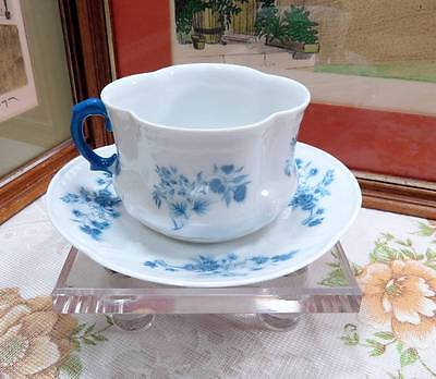"A. Giraud & Co. Limoges Porcelain Lrg Over Sized 2 7/8"" Blue Floral Cup & Saucer"