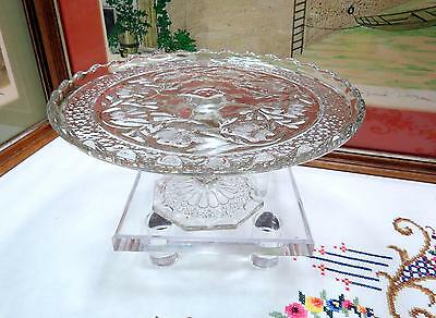 """Eapg Indiana Glass Rosepoint Band & Water Lily 8 3/4"""" Pedestal Cake Stand 1913"""