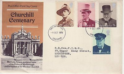GB Stamps First Day Cover Centenary Birth Sir Winston Churchill CDS Leicester 74