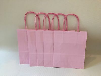10 X Small Pink Coloured Paper Gift Party Kraft Bags With Handles 22cm X 18cm