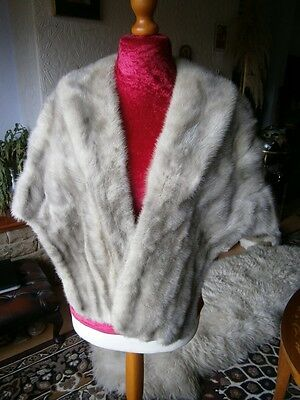 Beautiful vtg SILVER GREY real mink fur stole, silky pelts, gathered elbows, fab