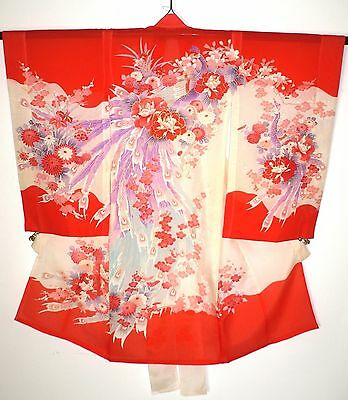 SUPER VINTAGE RO FAUX SILK GIRL'S FURISODE CEREMONIAL KIMONO Peacocks Flowers