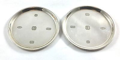 Lovely Pair Of Solid Silver Coasters 2003 58.2g Harrison Brothers & Howson Ltd