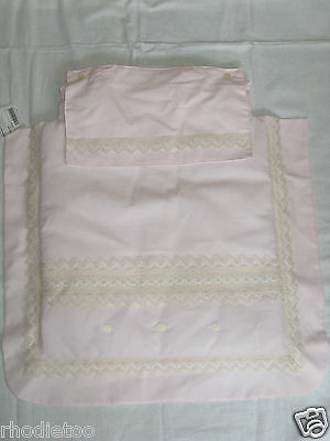 Pink Spanish Pram Cover BNwT Waffle Blanket Romany Quilt Apron Beige Lacey NEW