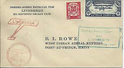 Dominican Republic 1928 Lindbergh Spirit of St Louis Illustrated Cover to Haiti
