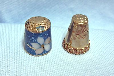 (2) Vintage Collectible Mexican Silver Thimbles Mother of Pearl Abalone-#5
