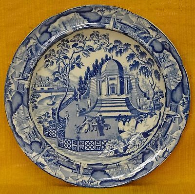 Antique Georgian Blue & White Eastern Tomb? PLATE, c1820's