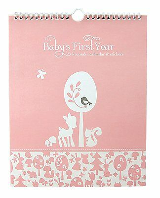 "Baby's First Year Calendar Keepsake with Milestone Stickers ""Woodland Baby"" Baby"