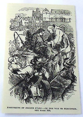 1886 magazine engraving~ JOAN OF ARC ON WAY TO EXECUTION