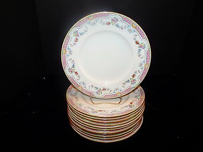 "MINTONS Hand Painted Enameled Pink Green Purple RIPON 9"" Luncheon Plates SET/12"
