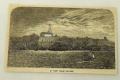1881 magazine engraving ~ VIEW NEAR CANNES ~ France