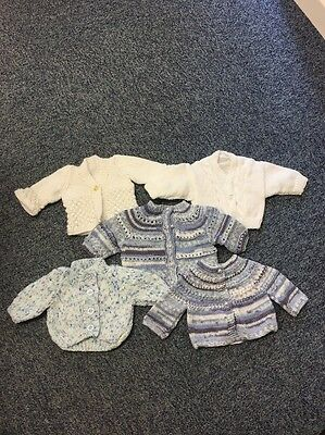"Bundle 7: 5 Hand Knitted Premature Baby / Doll Cardigan Jumpers (12-14"" Chest)"