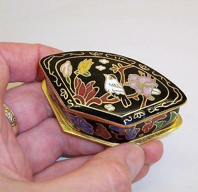 Vintage CLOISONNE Enamel FAN Trinket BOX Pot - BIRD/BUTTERFLY Black KEEPSAKE
