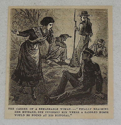 small 1882 magazine engraving ~ REMARKABLE WOMAN REACHING HER HUSBAND