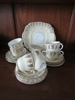 Stunning Royal Adderley~Harlequin~Yellow with gilding~20 piece part Tea Set