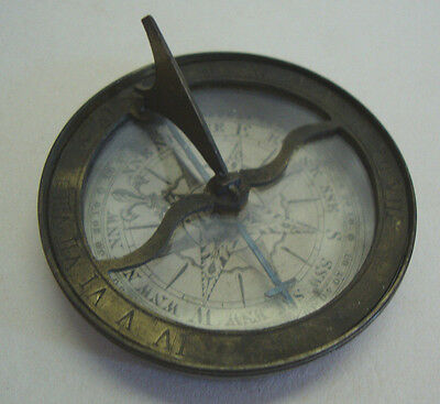 Georgian paper dial pocket compass sundial in brass case