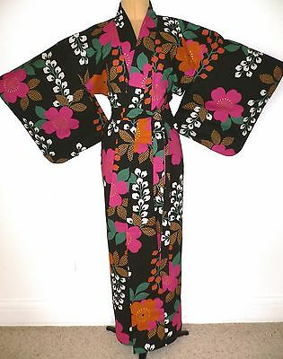PRETTY VINTAGE JAPANESE YUKATA COTTON KIMONO ADAPTED TO DRESSING GOWN ROBE +belt