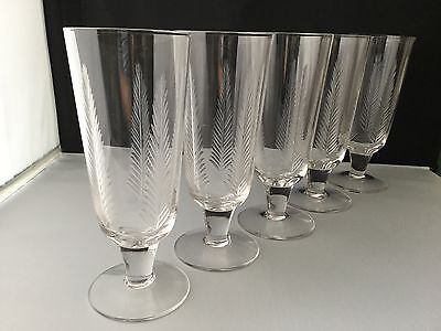 "RARE 4 Stuart Crystal Woodchester cut Champagne/lemonade/cider glasses 6 3/4"" h."