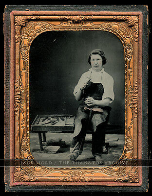 Superb 1/4 Ruby Ambrotype Photo - Occupational Shoe Cobbler with Tools - 1850s