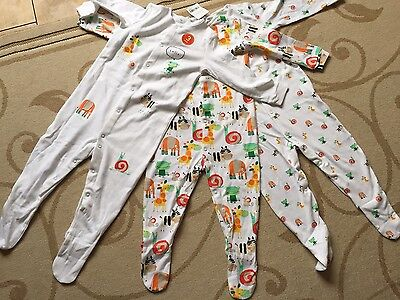 BNWT NEXT baby Boys 3 Pk Sleepsuits In Bright Animal Designs. 1.5-2 / 18-24 Mth