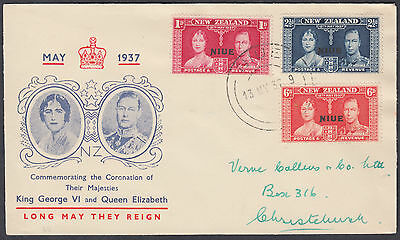 1937 Niue; KGVI Coronation NIUE O/P on New Zealand Illustrated FDC