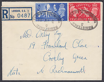 1951 FOB / Festival of Britain (Stock Exhange Flap) Registered FDC
