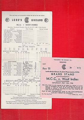 Cricket scorecard, M.C.C. V West Indies, plus ticket, May 1966. at Lord's