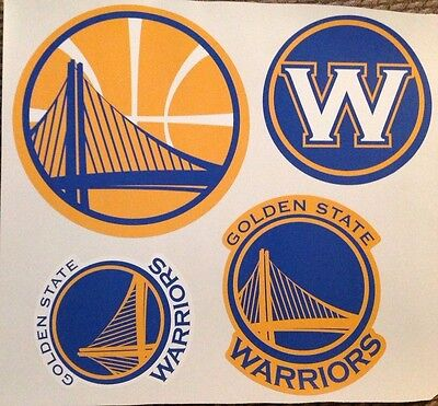 """lot of 4 logo's largest 9"""" x 9"""" Golden State Warriors Fathead Vinyl Wall Graphic"""