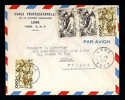 15737-TOGO-A.O.F-AIRMAIL COVER LOME to LYON (france)1949.WWII.French colonies.