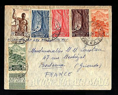 15728-CONGO-A.E.F-AIRMAIL COVER BRAZZEVILLE to BORDEAUX (france)1953.French colo