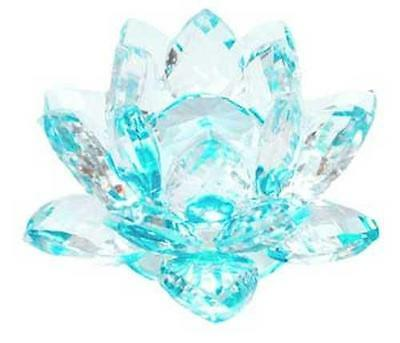 """3.5"""" Faceted Blue Glass Lotus!"""